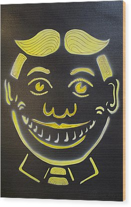 Yellow On Black Tillie Wood Print by Patricia Arroyo