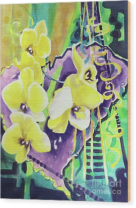 Yellow Orchids Of The Heart Wood Print by Kathy Braud