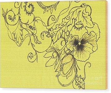 Yellow Pansy And Ladybug Wood Print by Denise Hoag