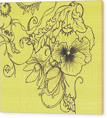 Yellow Pansy Wood Print by Denise Hoag