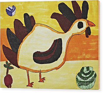 Yellow Rooster Still Wood Print by Stephanie Ward