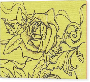 Yellow Rose Wood Print by Denise Hoag