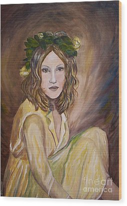 Wood Print featuring the painting Yellow Rose by Julie Brugh Riffey