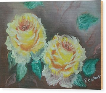 Wood Print featuring the painting Yellow Roses by Raymond Doward