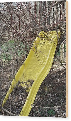 Yellow Slide Wood Print by Todd Sherlock