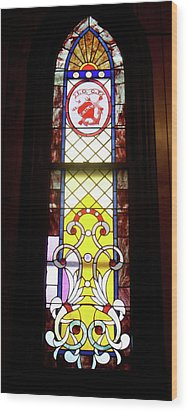 Yellow Stained Glass Window Wood Print by Thomas Woolworth