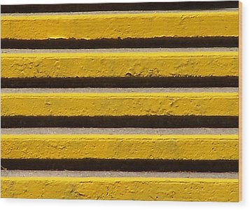 Yellow Steps Wood Print by Steven Huszar