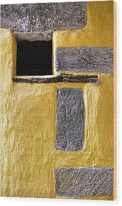 Yellow Stone Wall Wood Print by Joana Kruse