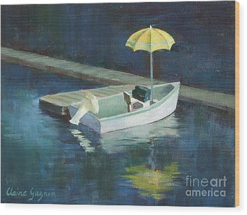 Yellow Umbrella Wood Print by Claire Gagnon