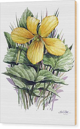 Yellow Violet Wood Print by Bob  George