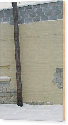 Yellow Wall Wood Print by Todd Sherlock