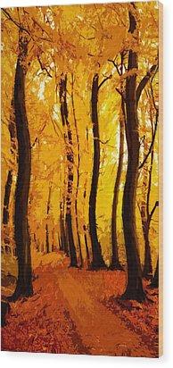 Yellow Wood Wood Print by Steve K