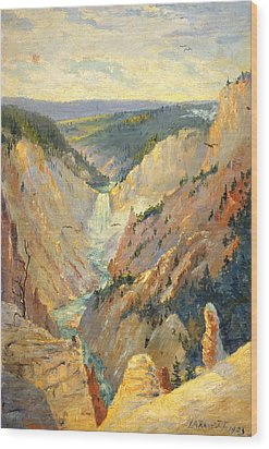 Yellowstone Falls And Hoodoos Wood Print by Lewis A Ramsey