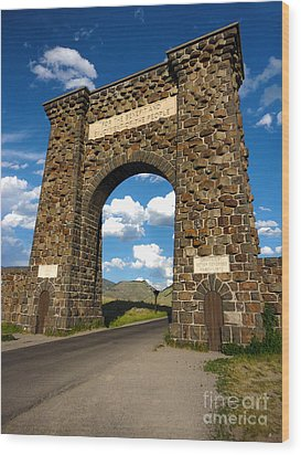Yellowstone National Park Gate Wood Print by Gregory Dyer