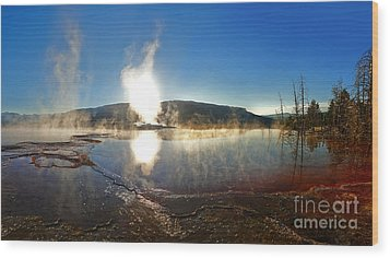 Yellowstone National Park - Minerva Terrace - 06 Wood Print by Gregory Dyer