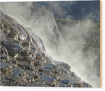 Yellowstone National Park - Minerva Terrace - Steam Wood Print by Gregory Dyer