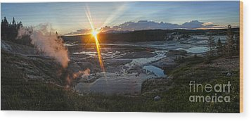Yellowstone Norris Geyser Basin At Sunset - 02 Wood Print by Gregory Dyer