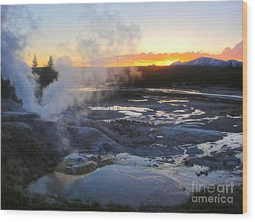 Yellowstone Norris Geyser Basin At Sunset - 03 Wood Print by Gregory Dyer