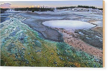 Yellowstone Norris Geyser Basin At Sunset - 04 Wood Print by Gregory Dyer