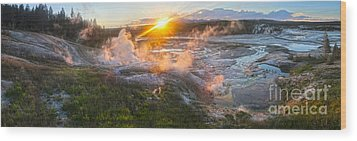 Yellowstone Norris Geyser Basin At Sunset Wood Print by Gregory Dyer