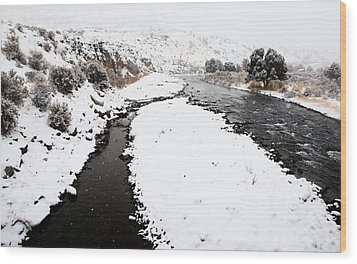 Yellowstone Park Wyoming Winter Snow Soda Butte Creek Wood Print by Mark Duffy
