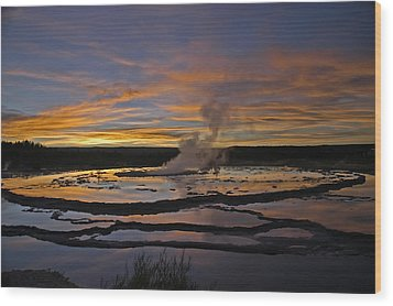 Yellowstone's Fountain Geyser Wood Print by Geraldine Alexander