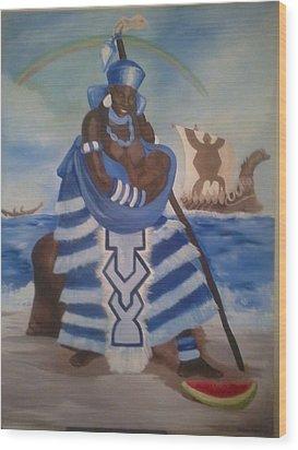 Yemaya - Mother Of The Ocean Wood Print by Sula janet Evans