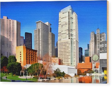 Yerba Buena Garden In San Francisco California . 7d4262 Wood Print by Wingsdomain Art and Photography