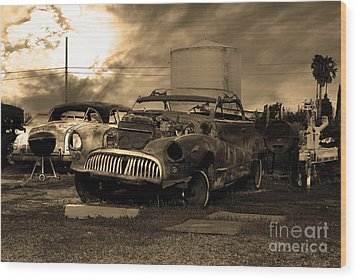 Yesterday Came Early . Tomorrow Is Almost Over 2 . Sepia Wood Print by Wingsdomain Art and Photography