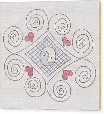 Yin Yang Swirls Pastel Wood Print by Jeannie Atwater Jordan Allen