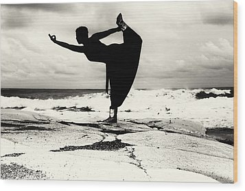 Yoga Balance Wood Print by Stelios Kleanthous