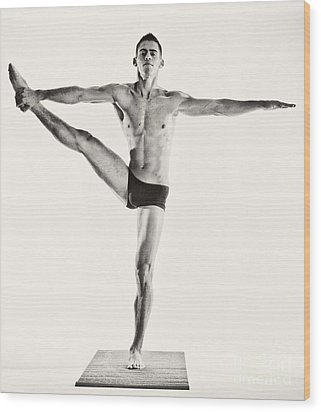 Yoga Iv Wood Print by Angelique Olin