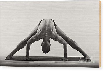 Yoga Ix Wood Print by Angelique Olin