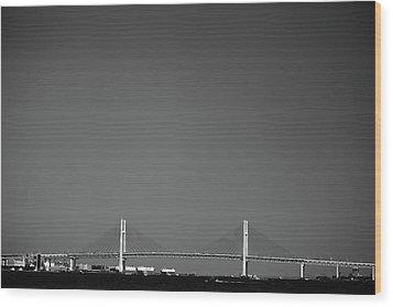 Yokohama Bay Bridge Wood Print by Kiyoshi Noguchi