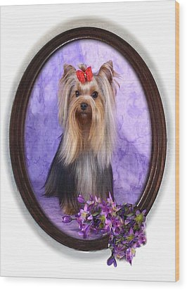 Yorkie With Violets Wood Print by Maxine Bochnia