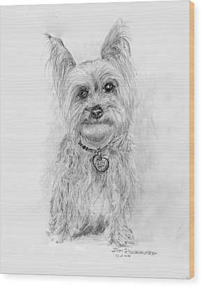 Wood Print featuring the drawing Yorkshire Terrier by Jim Hubbard