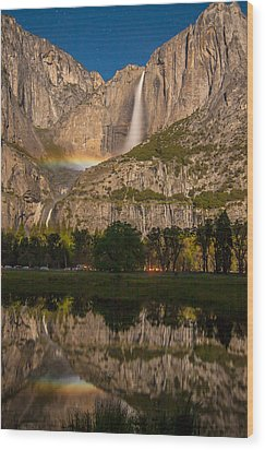 Yosemite Falls Moonbow Reflection Wood Print by Marc Crumpler