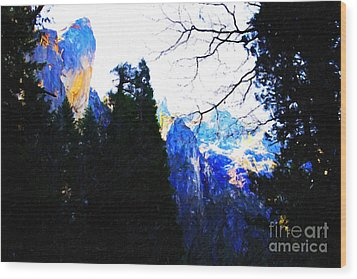 Yosemite Snow Top Mountains Wood Print by Wingsdomain Art and Photography