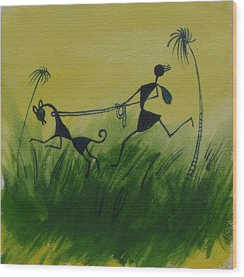 You En I In This Beautiful World Wood Print by Chintaman Rudra