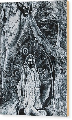 Young Aboriginal Woman And River Red Gum Wood Print by Helen Duley