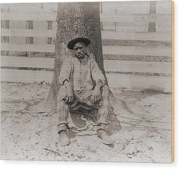 Young African American Sitting Wood Print by Everett