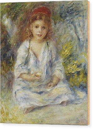 Young Algerian Girl Wood Print by Pierre Auguste Renoir