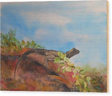 Young Australian Water Dragon Wood Print by Carol McLagan