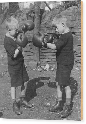 Young Boxing Twins Wood Print by Fox Photos
