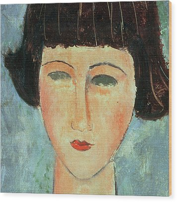 Young Brunette Wood Print by Modigliani