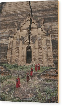 Young Buddhist Monks Near A Ruined Wood Print by Paul Chesley