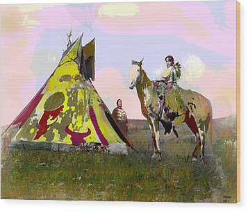 Wood Print featuring the mixed media Young Chief by Charles Shoup