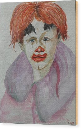 Young Clown Wood Print by Betty Pimm
