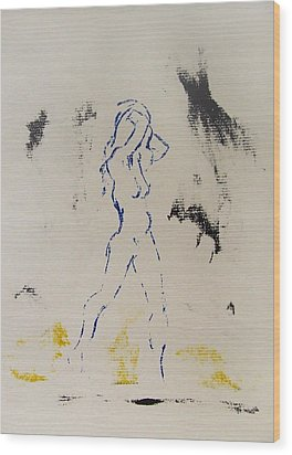 Wood Print featuring the painting Young Female Nude In Agony While Running From Her Thoughts In Blue Yellow Black Serigraph Monoprint by M Zimmerman