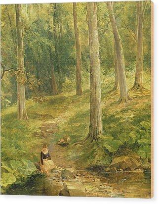 Young Girl Bathing Her Feet Wood Print by Thomas Creswick